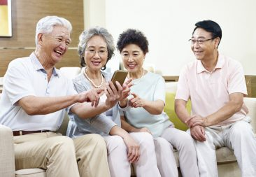 asian senior people having a good time