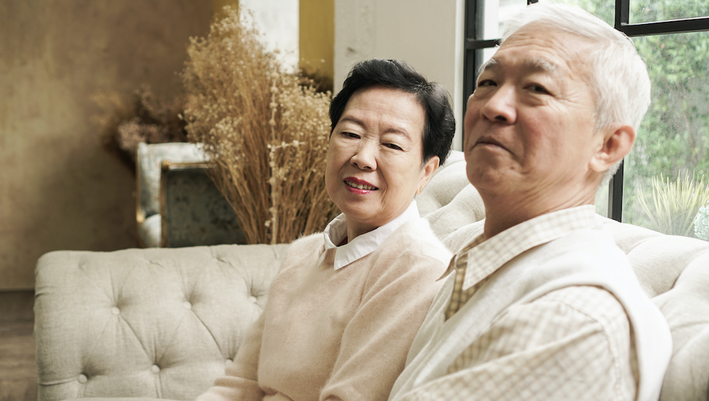 Rich Asian senior elder couple stay home for lockdown together well being family